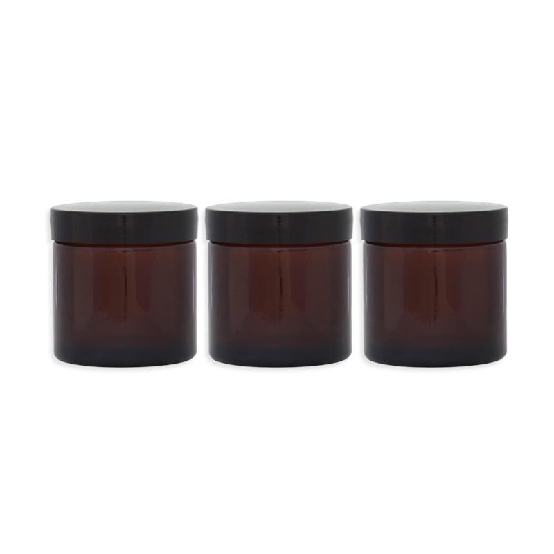 Lot 3 Pommadiers en verre ambré - 60ML