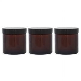 Lot 3 Pommadiers en verre ambré - 120ML