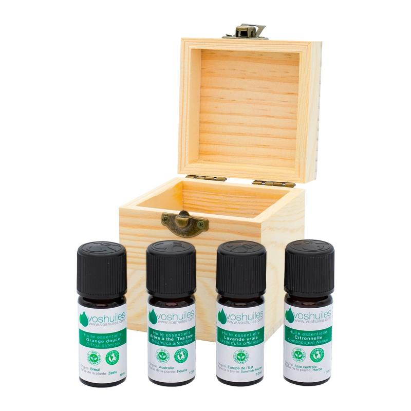 Coffret Aromathérapie 4 flacons d'huiles essentielles