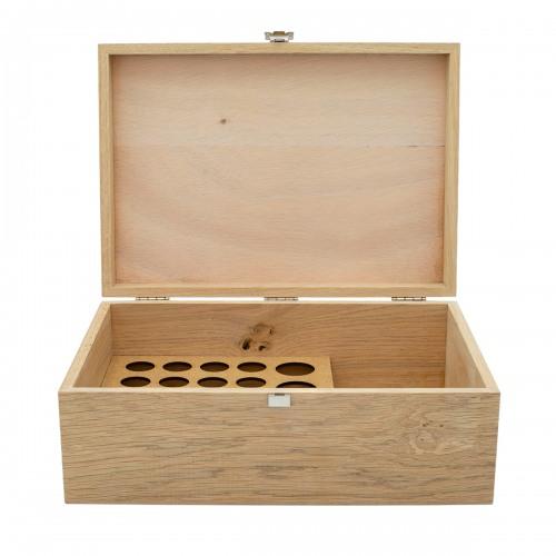 Boite en bois de rangement pour 20 flacons de 5 ou 10ml et 4 flacons de 50ml + Espace de rangement