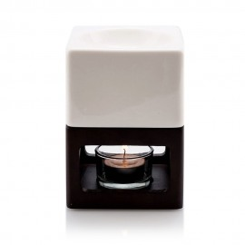 Brûle-parfum Bois foncé Naturel et Céramique