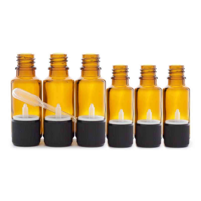 3 flacons de 20ml et 3 flacons de 10ml en verre ambré DIN 18 avec bouchons codigouttes