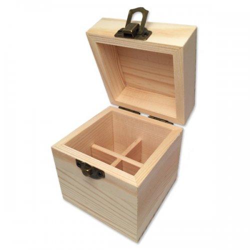 Boite en bois de rangement pour 4 flacons de 5 ou 10ml