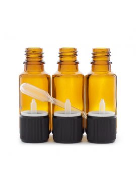 3 flacons de 20ml en verre ambré DIN 18 avec bouchons codigouttes