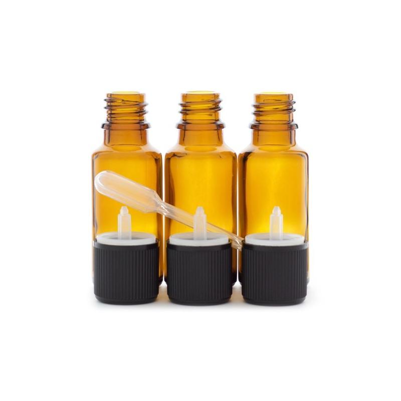 3 flacons de 20ml en verre ambré DIN 18 avec bouchons compte-gouttes