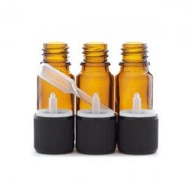 3 flacons de 10ml en verre ambré DIN 18 avec bouchons codigouttes