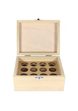 Boite en bois de rangement pour 12 flacons de 5 ou 10ml
