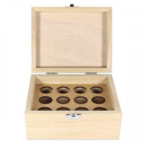 Boite en bois 12 trous pour flacons d'huiles essentielles 5 ou 10ml