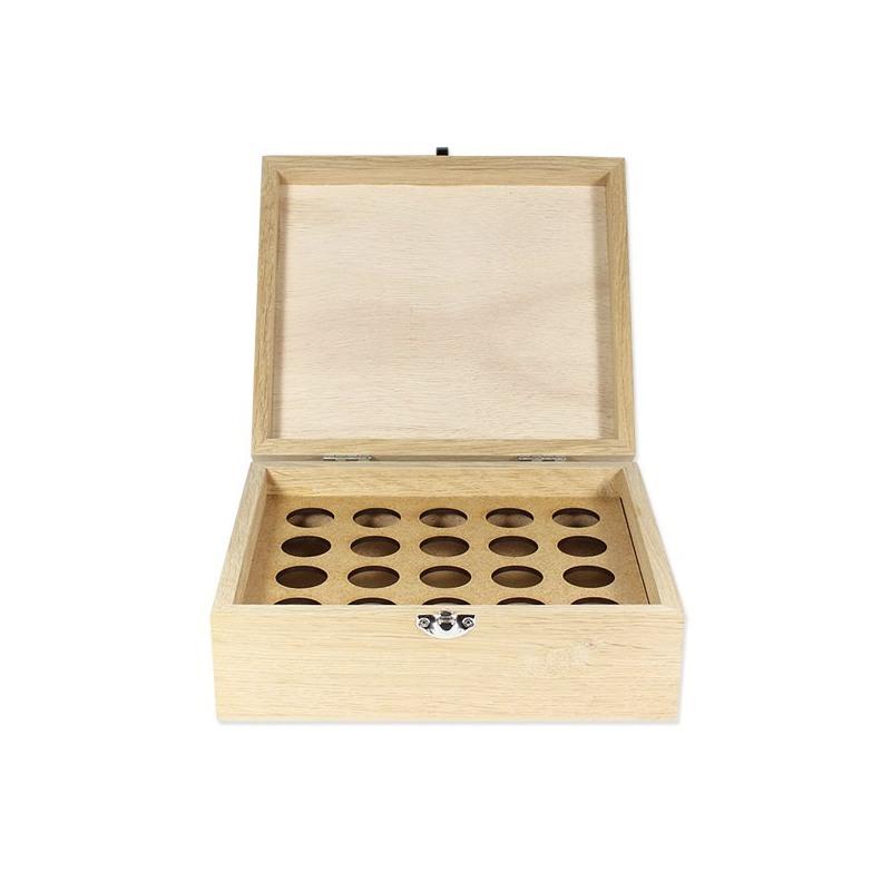 Boite en bois de rangement pour 20 flacons de 5 ou 10ml